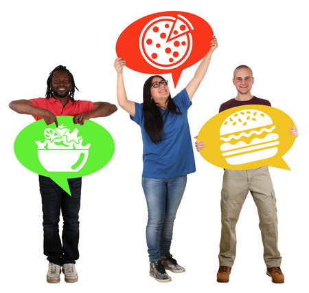 multi racial groups: Group of people holding speech bubbles choosing pizza, salad or hamburger fast food healthy eating isolated Stock Photo