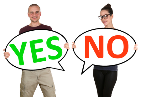 no person: Young people man woman choosing voting yes no isolated