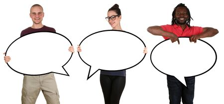 Happy people man woman holding empty speech bubbles with copyspace isolated on a white background