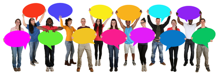 multi cultural: Group of young multi ethnic people holding empty speech bubbles with copyspace Stock Photo