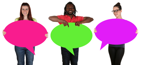 empty of people: Young people holding empty speech bubbles with copyspace isolated Stock Photo