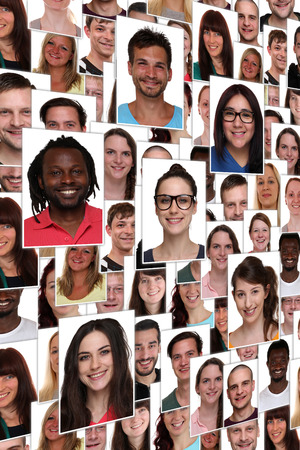 multi racial groups: Background collage group portrait of multiracial young happy smiling people Stock Photo