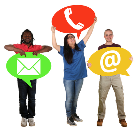 multi racial group: Group of people holding speech bubbles communication contact telephone, mail or e-mail online isolated Stock Photo