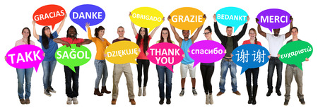 Group of young multi ethnic people holding speech bubbles with thank you isolated Standard-Bild