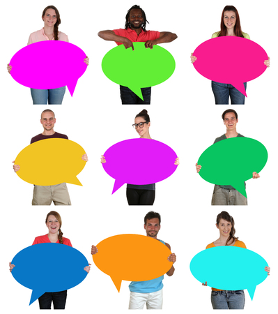 multi racial groups: Group of happy young multi ethnic people holding empty speech bubbles with copyspace isolated