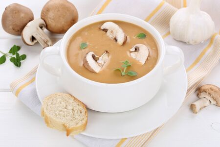 mushroom soup: Mushroom soup meal with fresh mushrooms in bowl