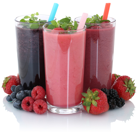 Smoothie fruit juice with fresh fruits isolated on a white background