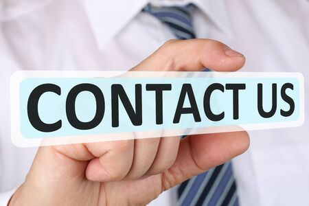 business contact: Businessman business concept with contact us assistance support customer service help