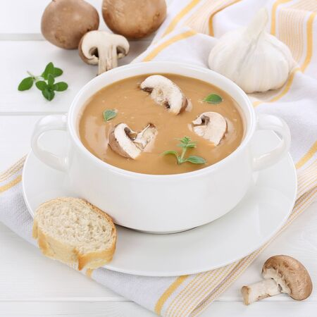mushroom soup: Mushroom soup meal with fresh mushrooms in bowl healthy eating