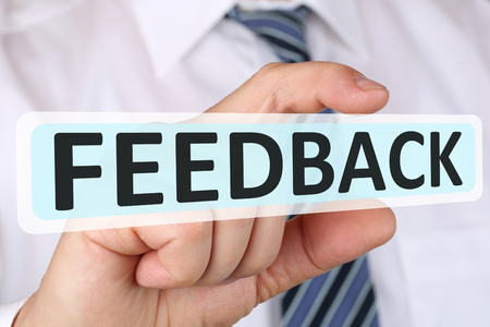 Businessman business concept with feedback contact customer service survey