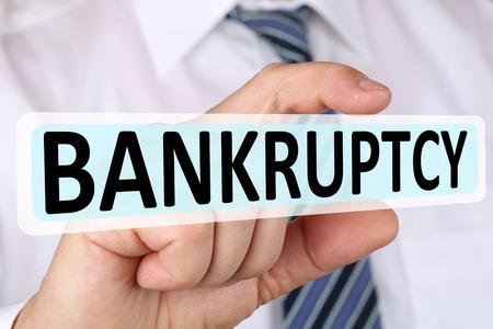 depts: Businessman business concept with bankruptcy depts crisis deficit bankrupt financial Stock Photo