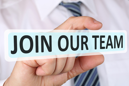 our team: Businessman business concept with join our team jobs, job working recruitment employees career Stock Photo