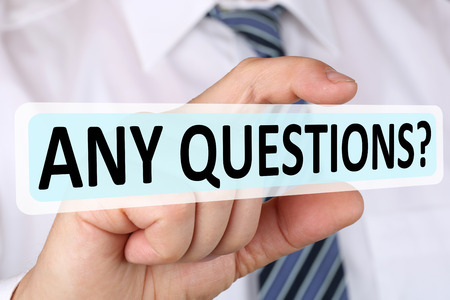 Businessman business concept asking any questions answer problem solution Stock Photo
