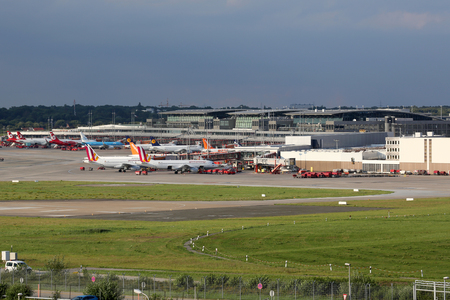 september 2: Hamburg, Germany - September 2, 2015: Overview of Hamburg International Airport (HAM) in Germany. Hamburg Airport is the fifth busiest and oldest airport in Germany. Editorial