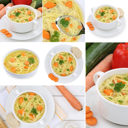 noodle soup: Collection of noodle soup soups in bowl with noodles meal Stock Photo