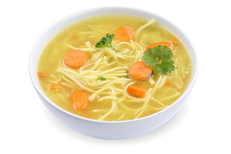 Noodle soup meal in bowl with noodles isolated on a white background