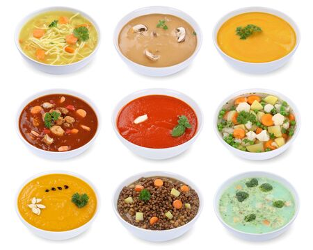 on a white background: Collection of soups soup in bowl tomato vegetable noodle isolated on a white background Stock Photo