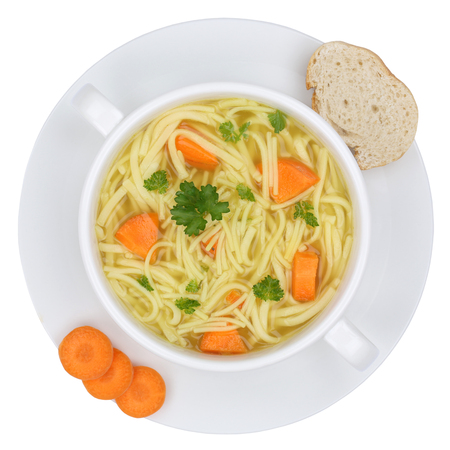 noodles soup: Noodle soup meal in bowl with noodles from above isolated on a white background