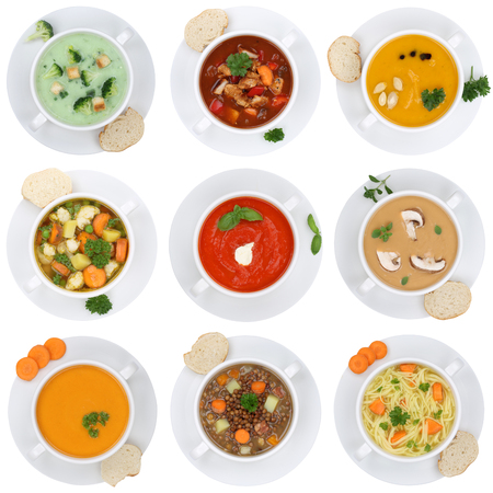 vegetable soup: Collection of soups soup in cup tomato vegetable noodle isolated on a white background from above