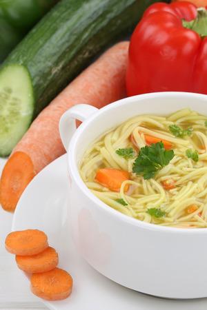 noodle soup: Fresh noodle soup meal with noodles closeup