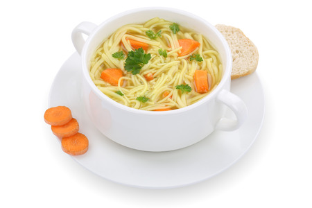 noodle soup: Noodle soup meal in cup with noodles isolated on a white background Stock Photo