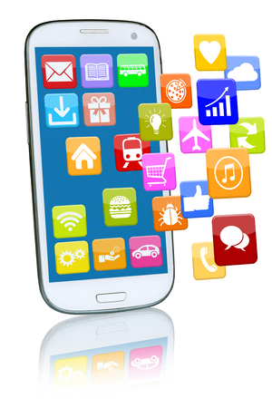 mobile apps: Smart phone or mobile with flying application apps app for internet