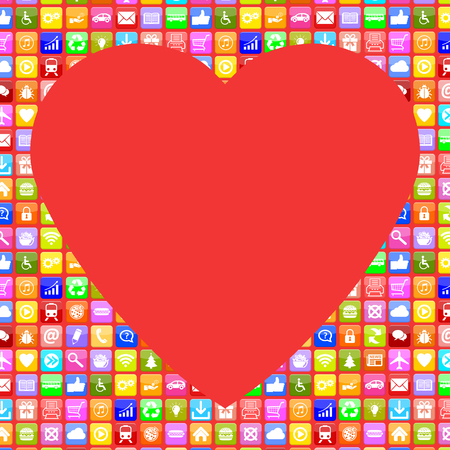 internet dating: Application Apps App Icon searching partner and love online on internet dating computer Stock Photo