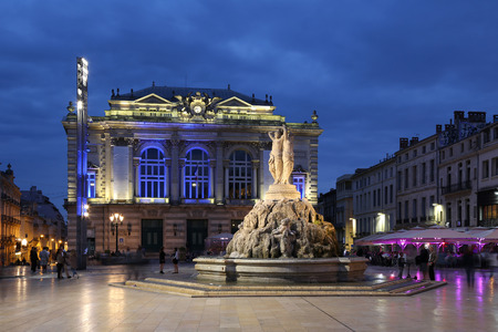 Montpellier France Place de la Comedie Opera square Editorial