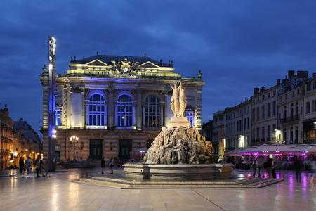 Montpellier France Place de la Comedie Opera square Redactioneel