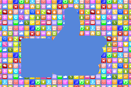 Application Apps App like thumbs up social media network on mobile or smart phone