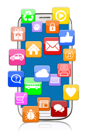 mobile communication: Smart phone mobile with application apps app download for internet communication online