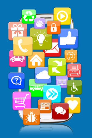 mobile communication: Smart phone mobile with application apps app for internet communication online Stock Photo