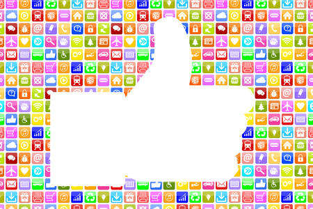 Application Apps App like thumbs up icon social media network on mobile or smart phone Stock Photo
