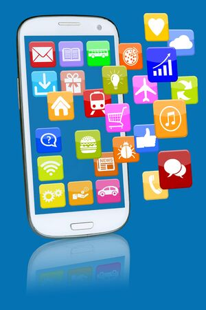 mobile telephone: Smart phone or mobile telephone with programs application apps app for internet Stock Photo