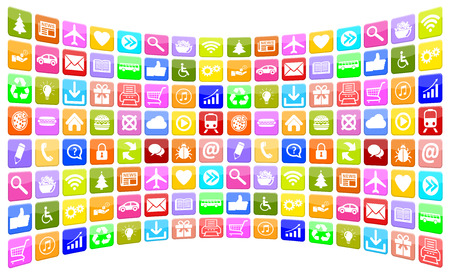 mobile app: Application Apps App Icon Icons multimedia collection for mobile or smart phone Stock Photo