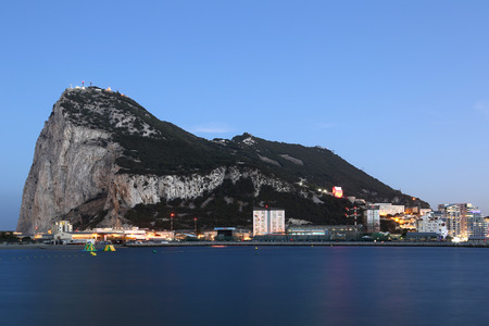 gibraltar: Gibraltar The Rock skyline at night twilight panorama
