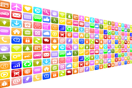 application icons: Application Apps App Icon Icons multimedia set for mobile or smart phone Stock Photo