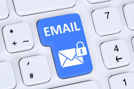 Sending encrypted E-Mail email protection secure mail on computer with letter symbol