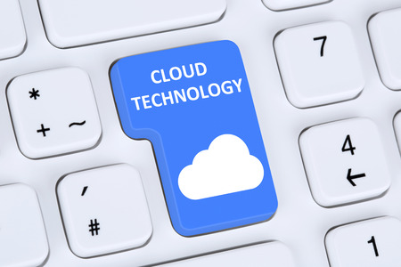 cloud technology: Symbol cloud computing technology storage on internet cyberspace computer keyboard