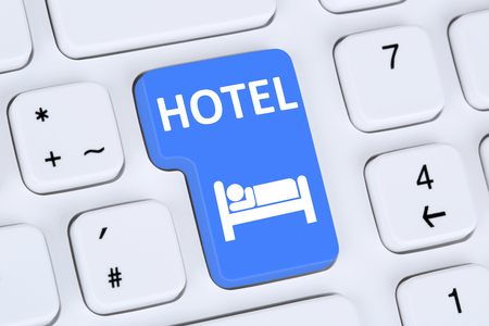 hotel stay: Hotel room stay online internet booking computer concept Stock Photo