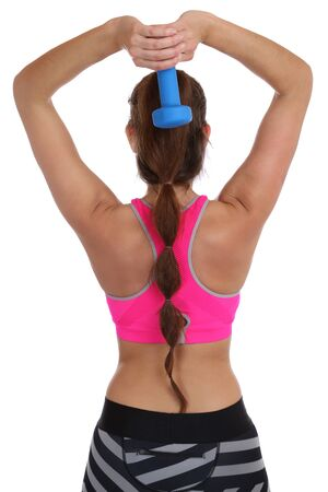 triceps: Fitness woman at sports workout training back shoulder triceps with dumbbell isolated on a white background