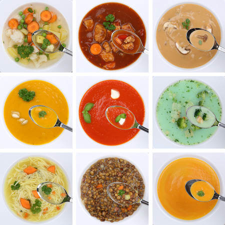collections: Collection of healthy eating soups soup in cup tomato vegetable noodle on spoon from above Stock Photo