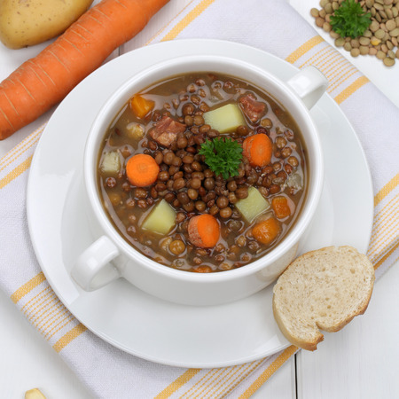 vegan: Healthy eating lentil soup stew meal with vegetables lentils in bowl