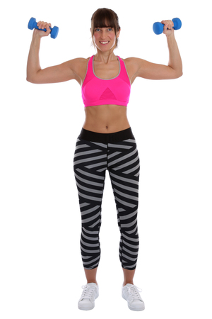 woman muscle: Young fitness woman at sports workout training with dumbbells exercise back shoulder isolated on a white background Stock Photo