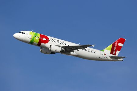 headquartered: Barcelona, Spain - December 12, 2014: A TAP Portugal Airbus A320 with the registration CS-TNN taking off from Barcelona Airport (BCN). TAP Portugal is the flag carrier airline of Portugal headquartered in Lisbon. Editorial