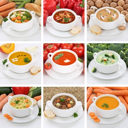 soup bowl: Collection of soups meal healthy eating soup in bowl tomato vegetable noodle