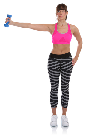 mujer cuerpo entero: Sports training fitness workout young woman holding dumbbell exercise full body isolated on a white background