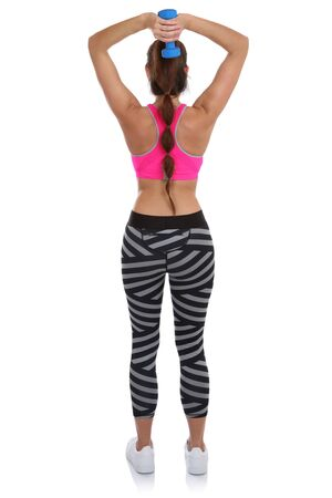 mujer cuerpo entero: Fitness woman at sports workout training back shoulder triceps with dumbbell full body isolated on a white background