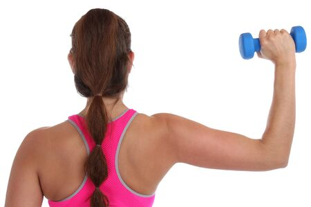woman back view: Fitness workout woman exercise back view shoulder sports with dumbbells isolated on a white background