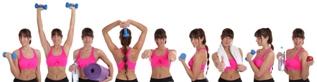 sports training: Collection of fitness woman sports workout training with dumbbells isolated on a white background